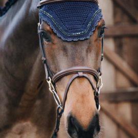 Kentucky Horsewear Fly Veil Wellington Stone & Pearl Navy